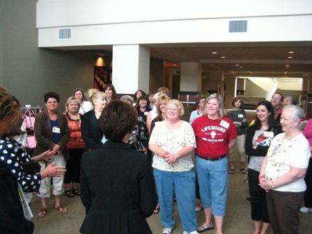 Jennifer Greets our Wonderful Group of Volunteers